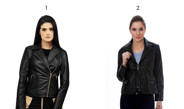 Montagem de produtos tendências de inverno jaqueta de couro.