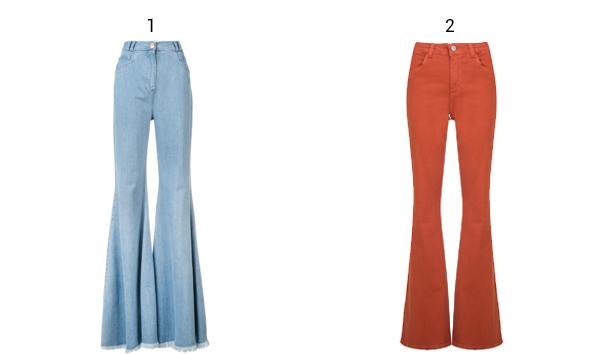 Montagem com produtos calça jeans flare.
