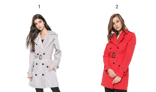 Montagem de produtos tendências de inverno trench coat.
