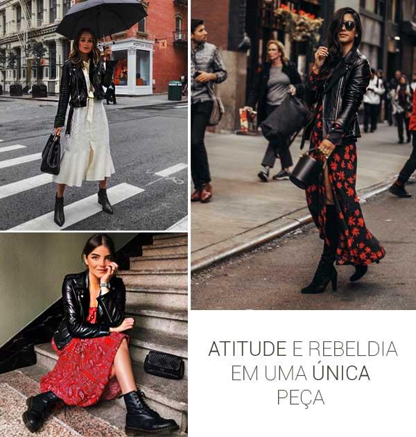 Montagem inspiração jaqueta de couro em tendências de inverno pela Dafiti.