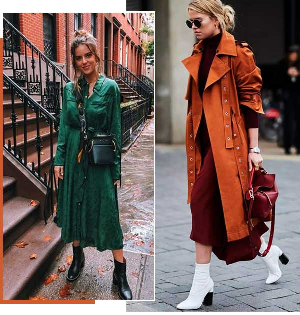 Montagem inspiração vestido em tendências de inverno pela Dafiti.