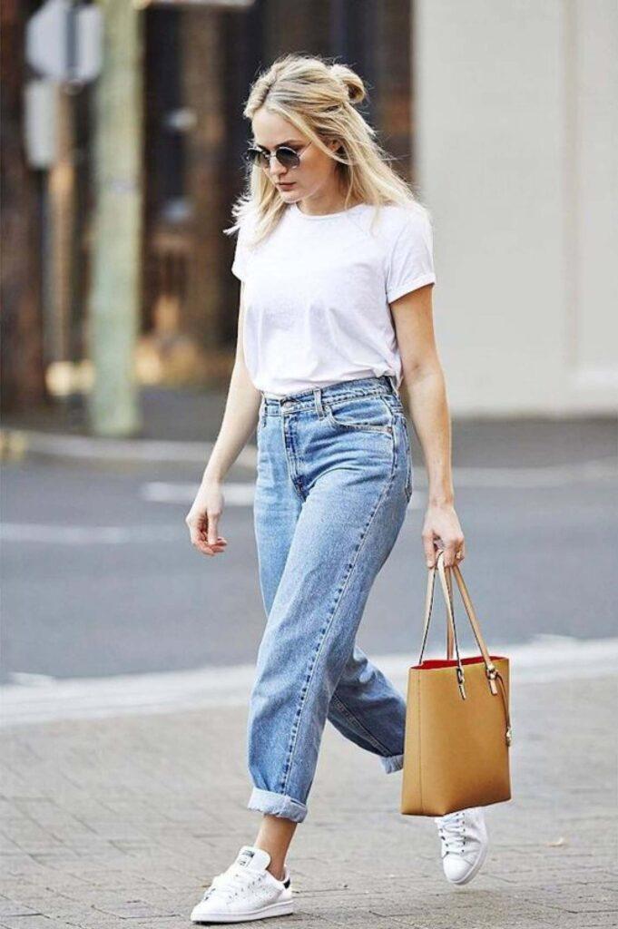 Calça folgada feminina jeans