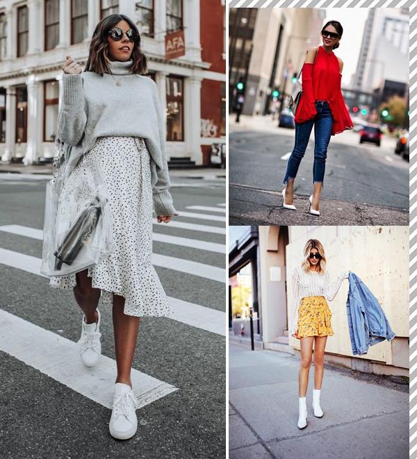Montagem inspiração looks com sapato branco.