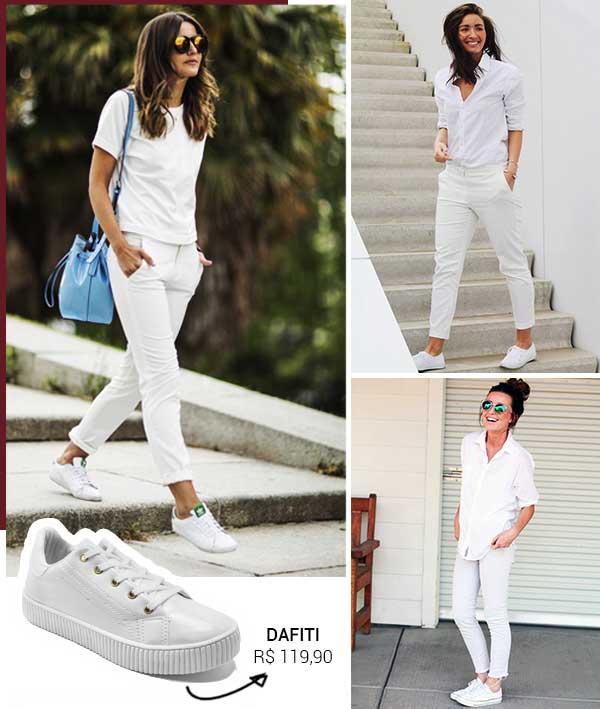 Montagem inspiração com o tênis branco feminino.