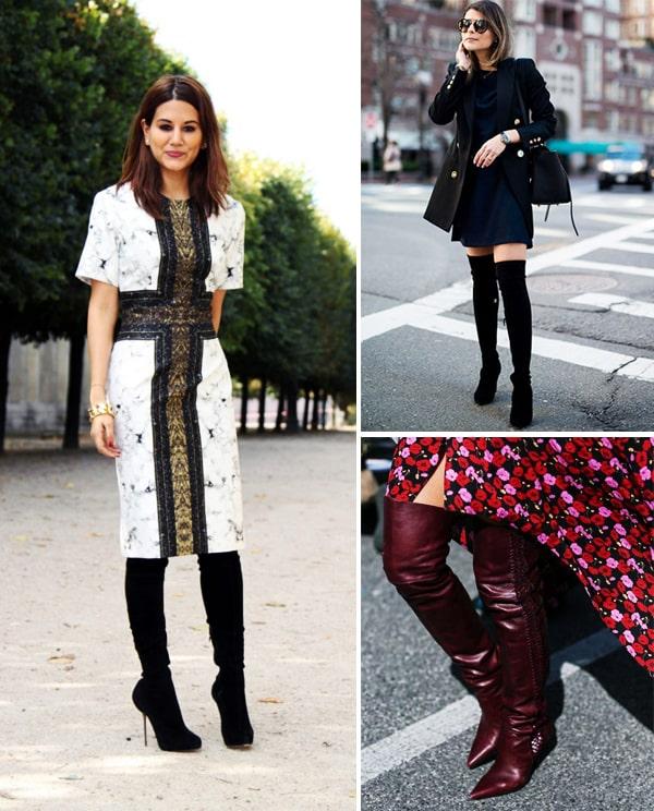 Montagem com inspirações de looks com bota de couro.
