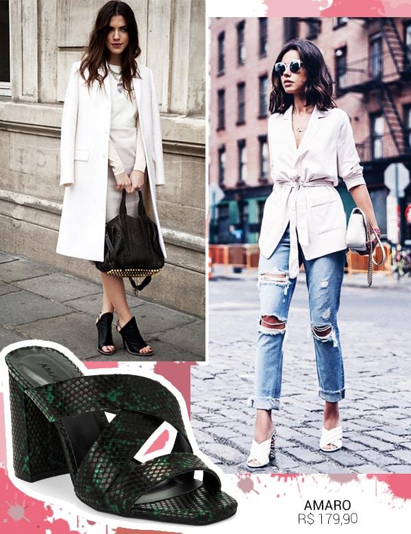 Look inspiração com o sapato mule.