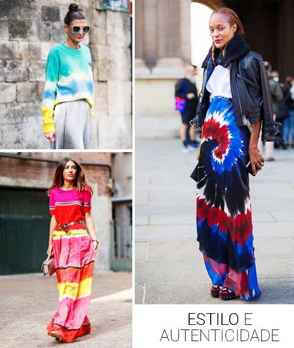 Imagem com looks inspirações com a trend tie dye.