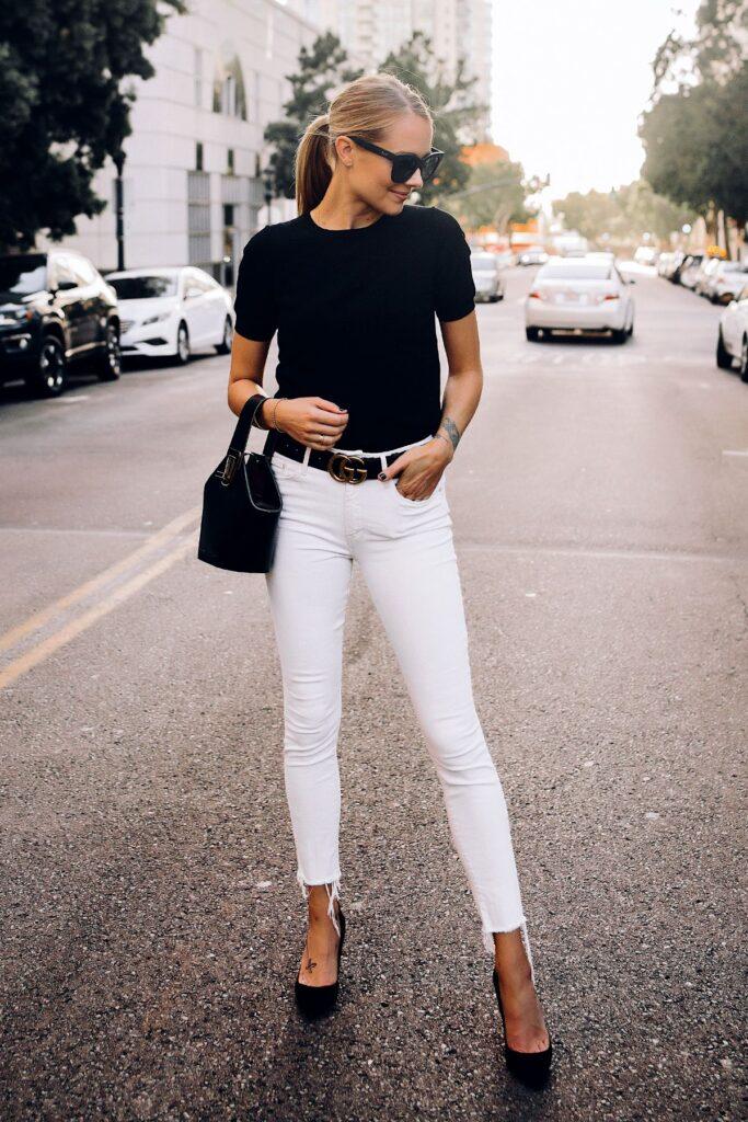 Look inspiração com calça branca.