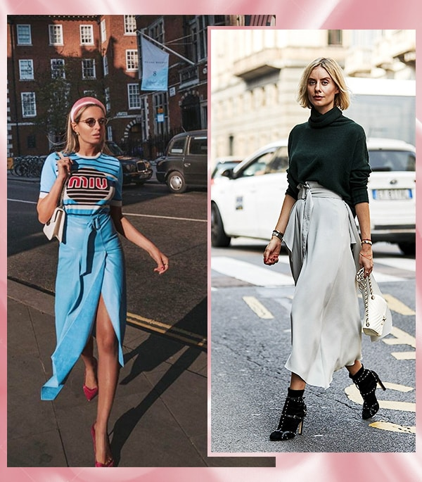 Look inspiração com a saia envelope.