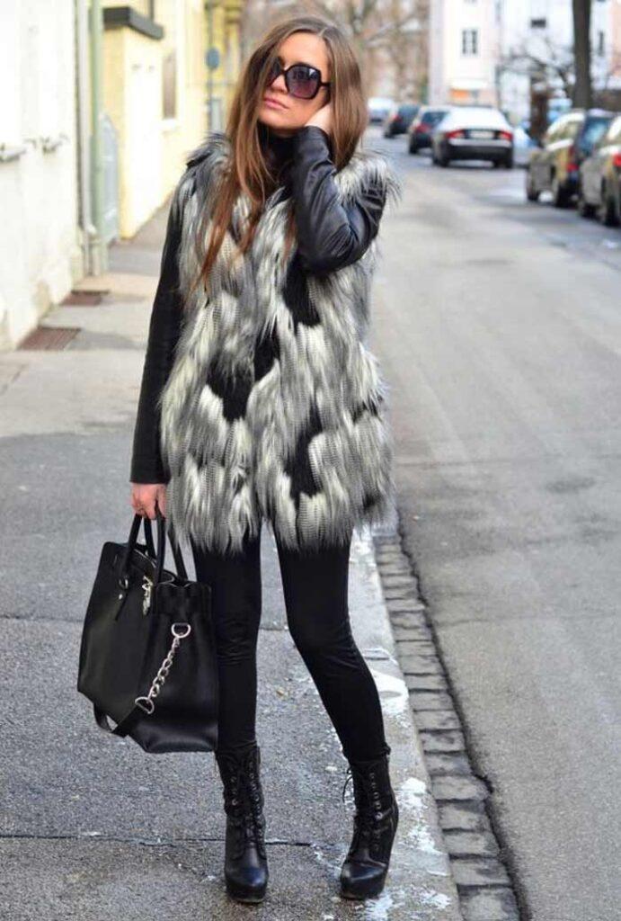 Look inspiração com o colete feminino com pêlo.
