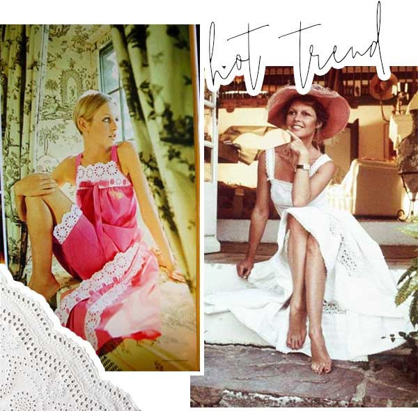 Imagens inspiração de looks com o tecido laise.