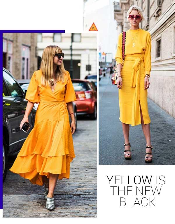 Imagens de look inspiração com o vestido amarelo.