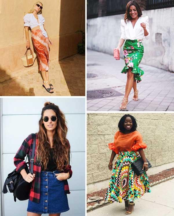 Imagem de looks inspiração com a saia tendência.