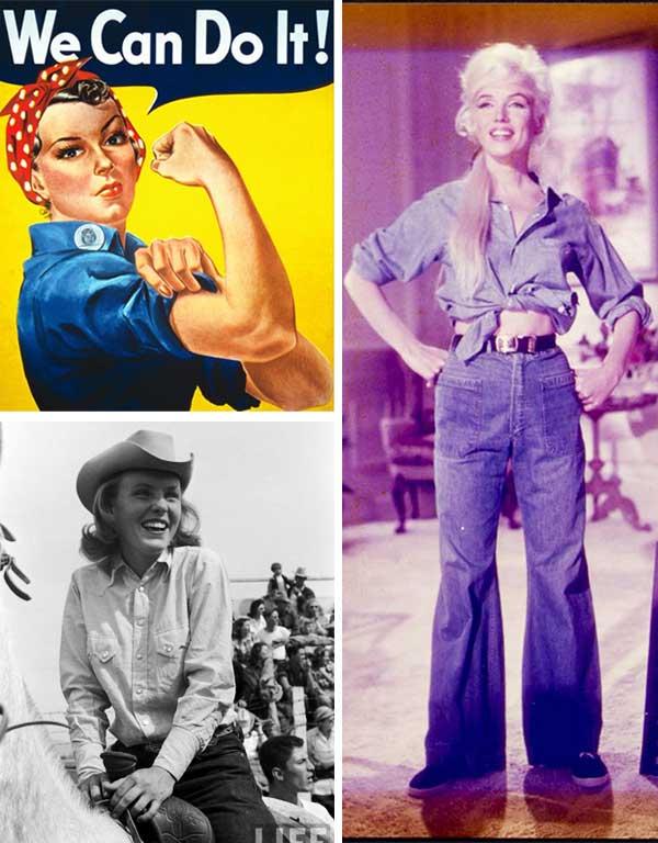 Imagem inspiração de looks com a camisa jeans feminina.